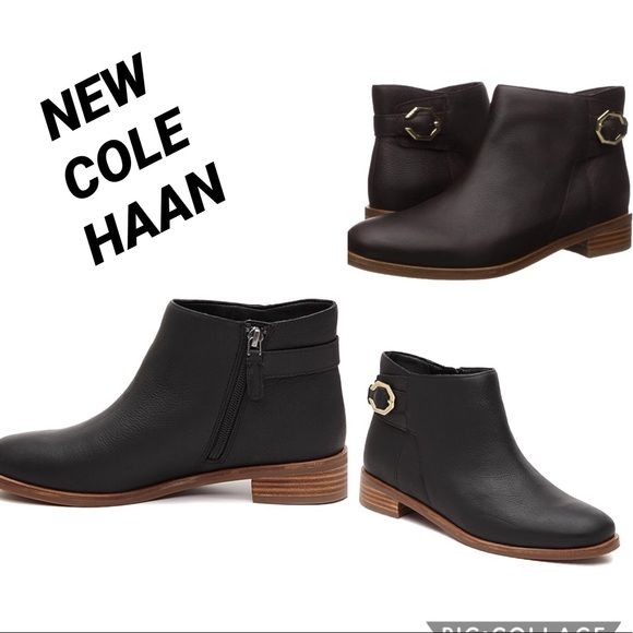 Lilah Black Leather Buckle Boots Size
